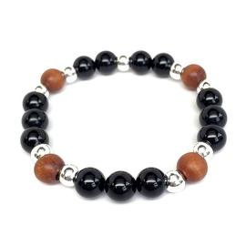 Black Onyx 'Loyal' stretch bracelet Sterling Silver
