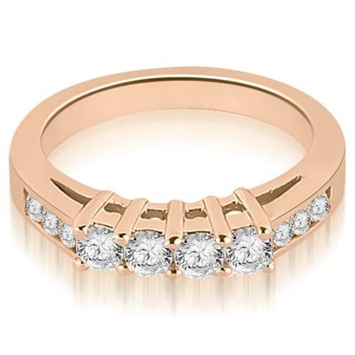 0.60 cttw. 14K Rose Gold Prong Set Round Cut Diamond Wedding Band