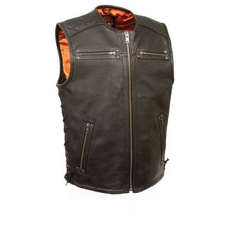 Mens Collarless Updated Motorcycle Vest W/Side Laces