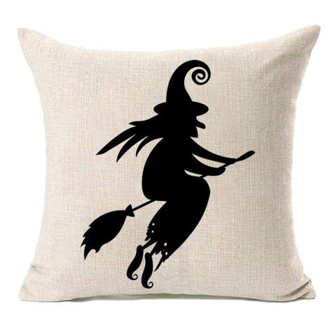 Halloween Witch Home Decor Cotton Linen Pillow Covers