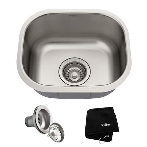 KRAUS Premier Stainless Steel 15 inch Undermount Kitchen Bar Sink