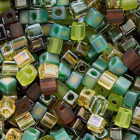 Miyuki 4mm Glass Cube Bead Mix 'Earthtones' 10 Grams
