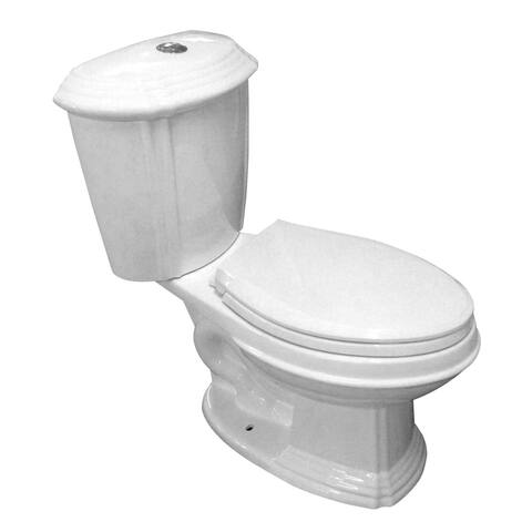 Dual Flush Toilet White Porcelain Elongated Two-Piece Toilet