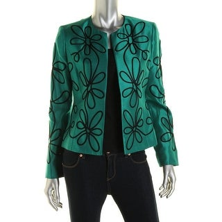 Kasper Womens Applique Open Front Collarless Blazer
