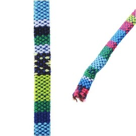 Multi-Colored Cotton Cord, Flat Woven Strands 5x2mm, 3 Feet, Blue / Green Mix