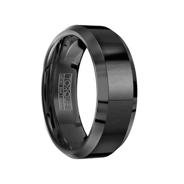 Black Flat Ceramic Wedding Ring Polished Finish Beveled Edges by Crown Ring - 8mm