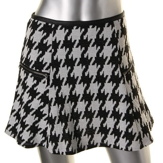 Stoosh Womens Juniors Faux Leather Trim Houndstooth A-Line Skirt - S