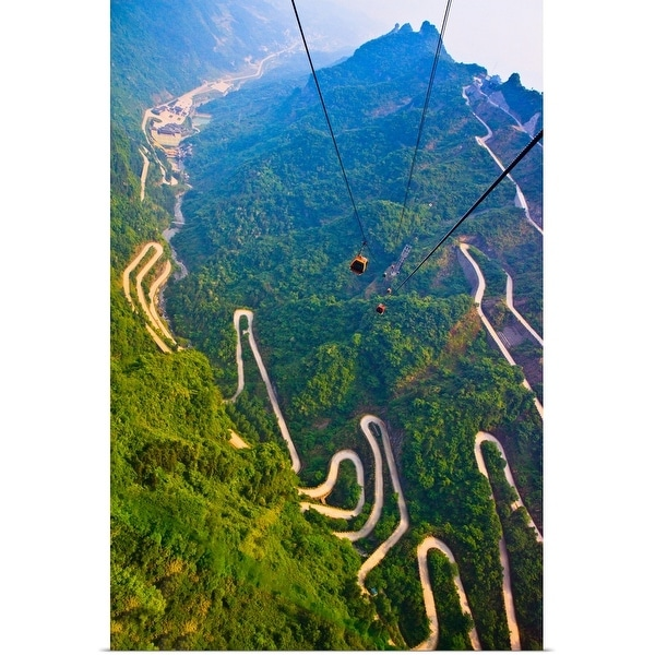 """""""View of mountains and winding road in Mount Tianmen, National Forest Park"""" Poster Print"""