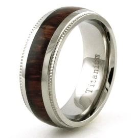 Titanium Wood Inlay Ring with Grain Edge