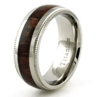 Titanium Wood Inlay Ring with Grain Edge