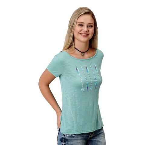 Roper Western Shirt Womens Short Sleeve Tee Aqua