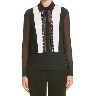 Yigal Azrouel NEW Black Women's Size 10 Lace Button Down Shirt Silk