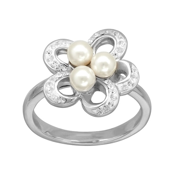 Crystaluxe Flower Ring with Swarovski Pearls & Crystal in Sterling Silver - White