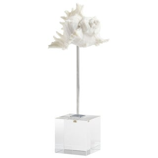 Cyan Design 09118  Under The Sea Crystal, Iron and Resin Conch Statue - Natural White
