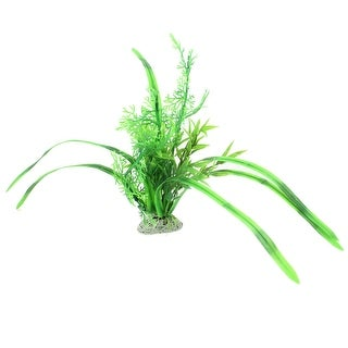 """Ceramic Base Artificial Plastic Green Grass Plants 13.8"""" High for Fish Tank"""