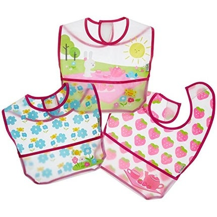 green sprouts 3 Piece Wipe-Off Bibs, Pink Picnic, 9-18 Months