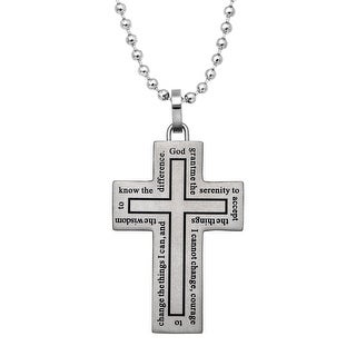 Men's Cross Pendant Necklace with Prayer in Stainless Steel