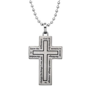 Men's Cross Pendant Necklace with Prayer in Stainless Steel - White