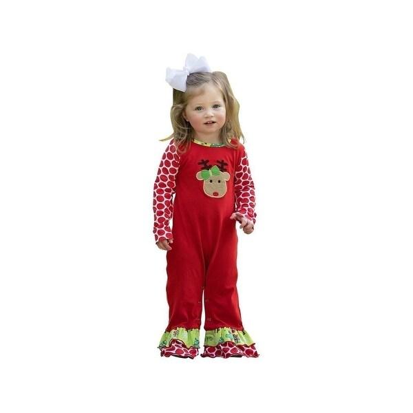 d50110a420bb Shop AnnLoren Baby Girls Red Reindeer Polka Dot Print Christmas ...