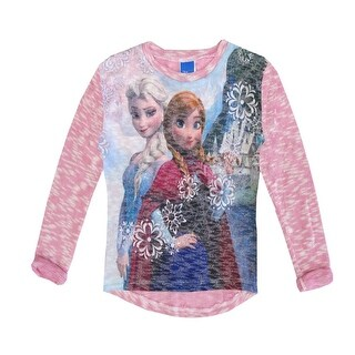Disney Little Girls Pink Anna Elsa Frozen Print Long Sleeved Top 4-6X