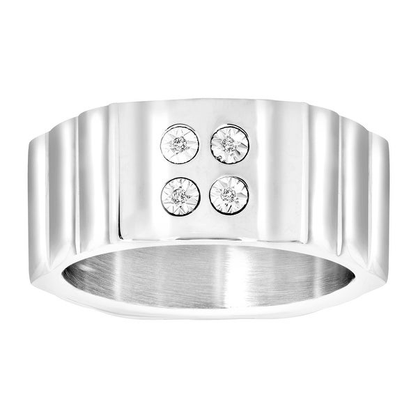 Men's Ring with Diamonds in Stainless Steel