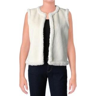 Lauren Ralph Lauren Womens Vest Faux-Suede Faux-Shearling