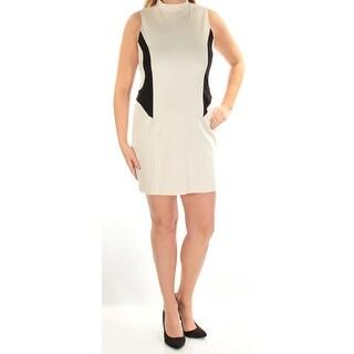 Womens Ivory Black Sleeveless Mini Sheath Wear To Work Dress Size: L