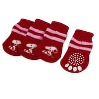 Unique Bargains 2 Pairs Doggy Print Elastic Cuff Warm Socks Red Pink White for Pet Dog Yorkie