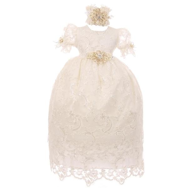 f8e8a26768b Shop RainKids Baby Girls Ivory Shantung Headband 3 Pc Christening Dress Set  - Free Shipping Today - Overstock - 25542378