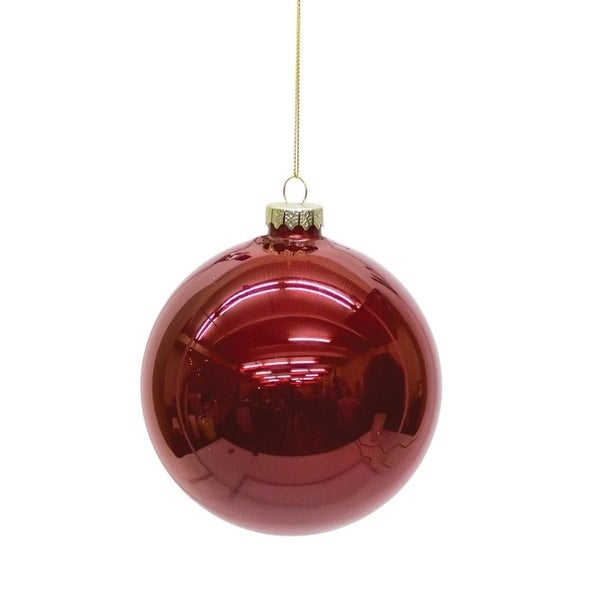 Set of 6 Shiny Ruby Red Glass Christmas Ball Ornaments 5""