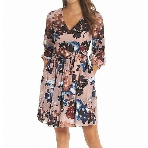 Vince Camuto Women's Dress Pink Size 8 Shift V-Neck Floral Print