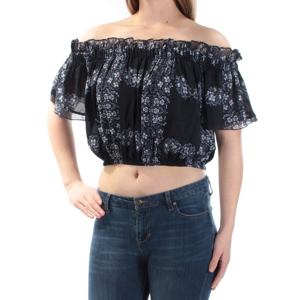 5f634cc32607 Shop Womens Navy Ivory Floral Kimono Sleeve Off Shoulder Crop Top Top Size  S - Free Shipping On Orders Over $45 - Overstock - 23467702
