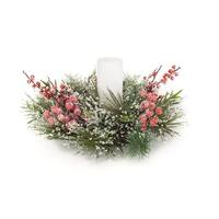 "Set of 4 White and Red Decorative Frosted Pine/Berry Christmas Candle Ring 18"" - green"