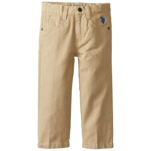 U.S. Polo Association Boys 2T-4T Bedford Corduroy Pant - Khaki