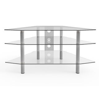"Link to Ryan Rove Ruby Space Saving Modern 44"" Corner Glass TV Stand with Cable Management - Silver and Clear Glass Similar Items in Corner TV Stands"