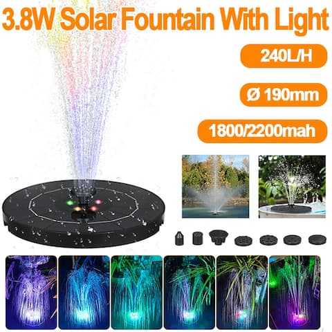 3.8W 1800mAh Solar Fountain LED Lights Color Changing Water Pump, with 6 Nozzles for Pond Pool Garden Decoration