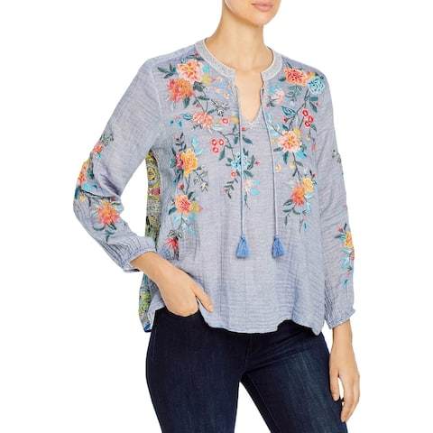 Johnny Was Womens Norah Peasant Top Woven Embroidered - Denim Blue