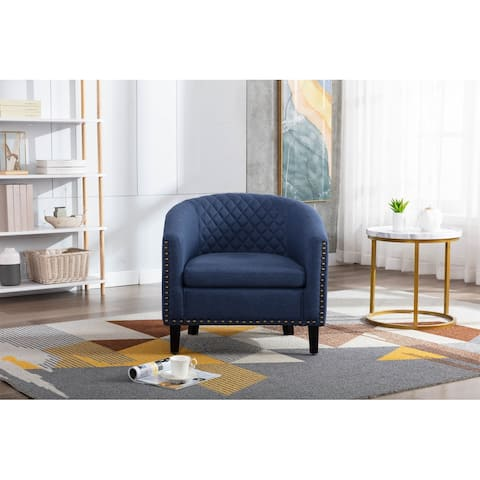 Microfiber Upholstered Accent Barrel Chair With Wood Legs