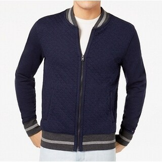 Tommy Hilfiger Blue Mens Size Large L Full Zip Quilted Sweater