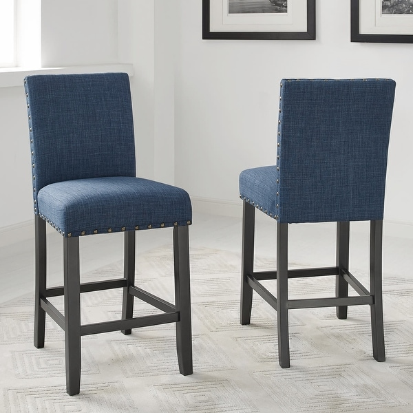 """Strick & Bolton Gallaccio 25-inch Fabric Stool (Set of 2) - 40""""H x 18.3""""W x 22.3""""L. Opens flyout."""