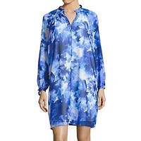IMNYC Blue Womens Size Large L Floral Chiffon Ruffle Shift Dress