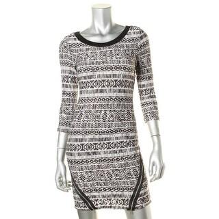 Trixxi Womens Juniors Sweaterdress Printed 3/4 Sleeves