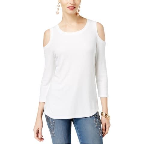 I-N-C Womens Cold Shoulder Basic T-Shirt