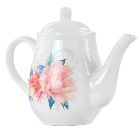 Martha Stewart 1.4 Quart Floral Ceramic Tea Pot in White