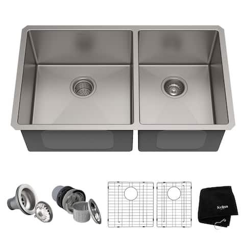 KRAUS Standart PRO Stainless Steel 33 in 60/40 Undermount Kitchen Sink
