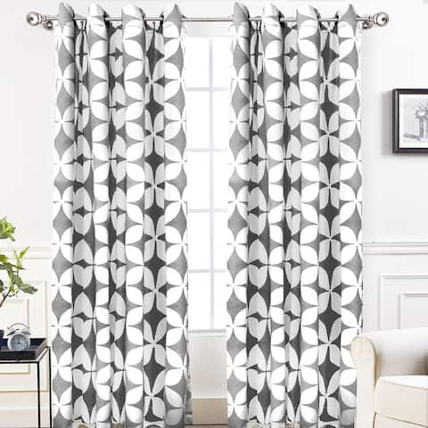 DriftAway Amelia Geo Thermal Insulated Blackout Curtain Panel Pair