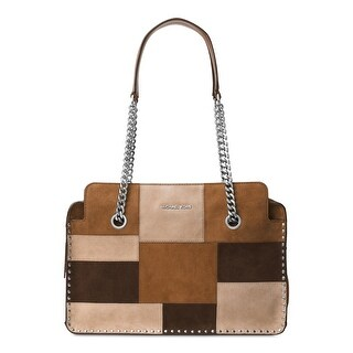 MICHAEL Michael Kors Womens Astor Satchel Handbag Suede Patchwork - MEDIUM
