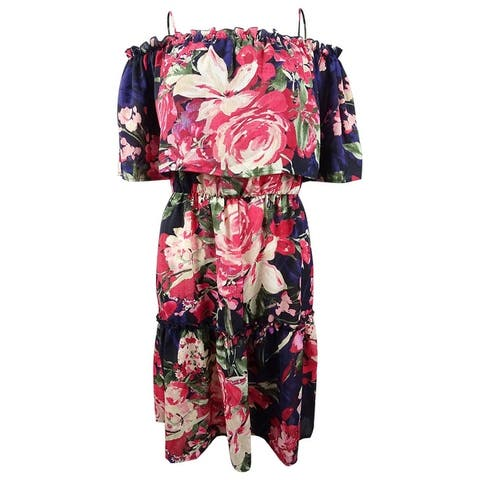 Connected Women's Printed Tiered Off-the-Shoulder Dress - Navy