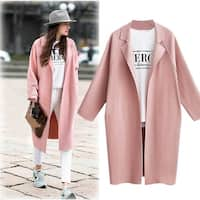 Suit Collar Long Sleeve Long Trench Coat