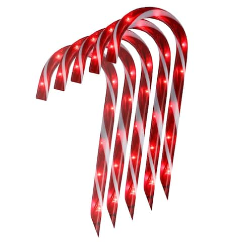 """Set of 10 Red Lighted Outdoor Candy Cane Christmas Lawn Stakes 12"""""""